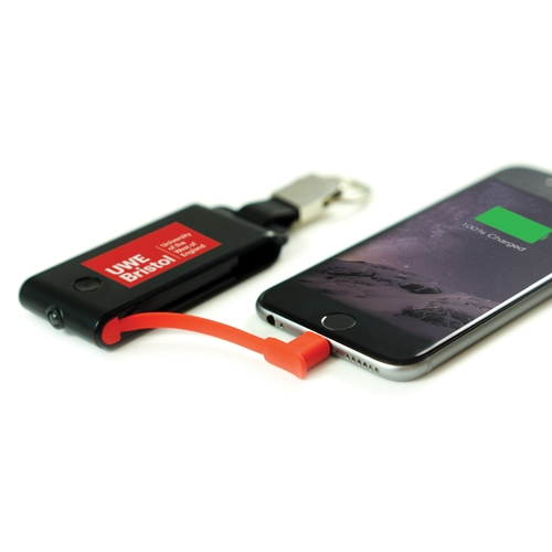 USB Power Bank Keyring With LED Torch 1500mah