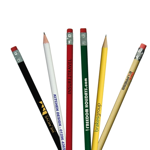Assorted Colours Round Pencil with Eraser