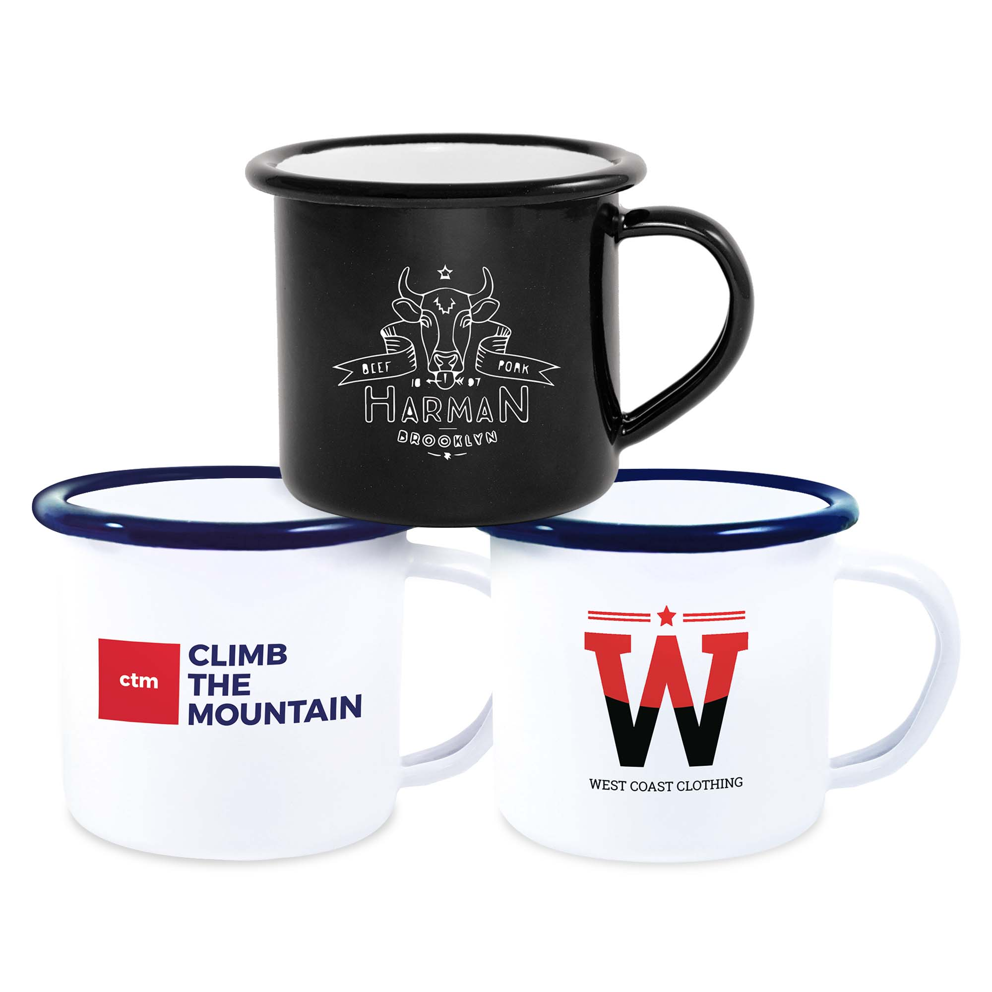 Premium Espresso Enamel Mugs 4.2oz/120ml (White & Black)