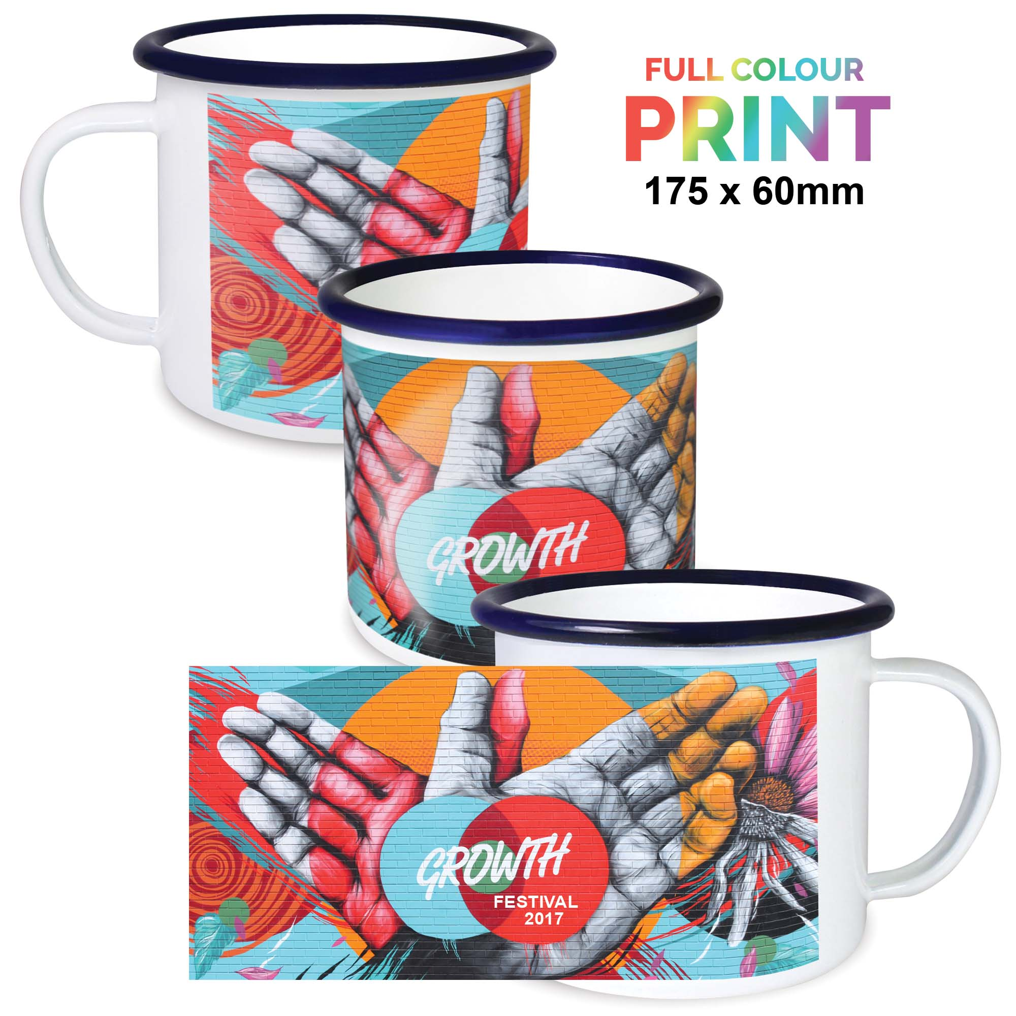 Premium Full Colour Enamel Mugs 10oz/285ml