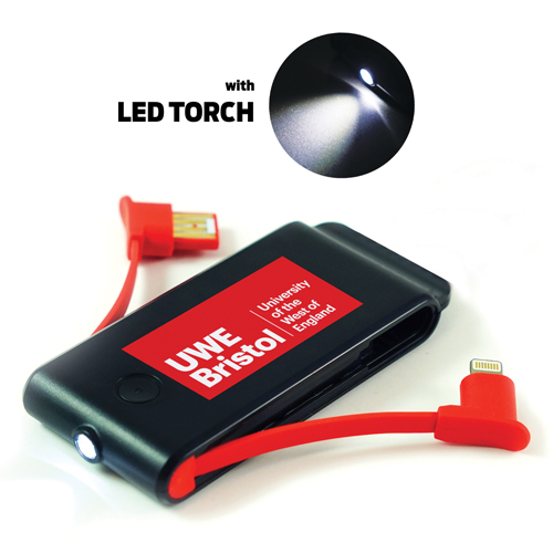 USB Power Bank With LED Torch 1500mah